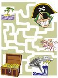 The Pirate Cat and the treasure. Maze game for kids: Help the Pirate Cat find its treasure chest Royalty Free Stock Photo