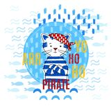 Pirate cat vector illustration stock photos