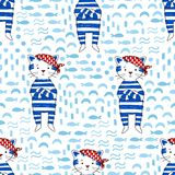 Pirate Cat vector seamless pattern. Pirate Cat in a blue sailor suit on a white background vector seamless pattern. Marine style background Stock Photo