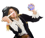 Pirate and CD. Pirate aiming a knife at CD Royalty Free Stock Images