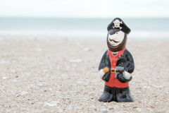 Pirate ceramic doll on beach Royalty Free Stock Photography
