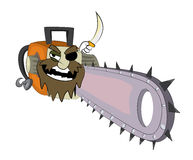 Pirate Chainsaw cartoon Royalty Free Stock Image