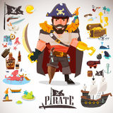 Pirate character design with icons element. typographic design vector illustration
