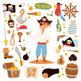 Pirate character design with vector icons. Royalty Free Stock Photos