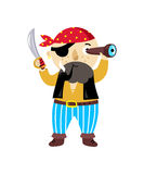Pirate character with sword icon. Children drawing of pirate concept vector illustration isolated on white background Royalty Free Stock Photography