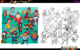 Pirate characters group coloring book Stock Photo