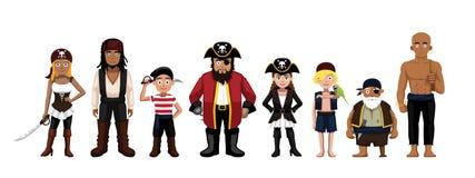 Pirate Characters Set Cartoon Vector Illustration Stock Photos