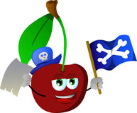 Pirate cherry with blank paper and pirate flag Stock Images
