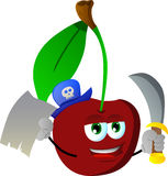 Pirate cherry with blank paper and sword Royalty Free Stock Photos