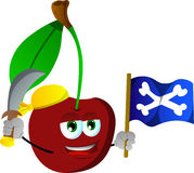 Pirate cherry with sword and pirate flag Royalty Free Stock Images
