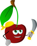 Pirate cherry with sword Royalty Free Stock Photography