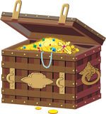 Pirate chest with treasures. Royalty Free Stock Photos