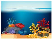 A Pirate Chest Under Ocean. Illustration Stock Photo
