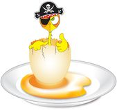 Pirate chicken on plate. Pirate chicken surfing on egg composition vector illustration