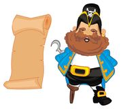 Pirate and clean map. Smiling pirate stand with clean long map Stock Image