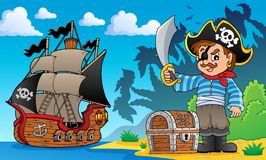 Pirate on coast theme 1 Royalty Free Stock Photos