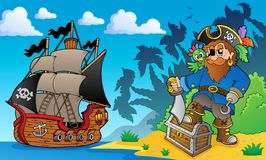 Pirate on coast theme 2. Eps10 vector illustration Stock Photography
