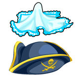 Pirate cocked hat and vintage handkerchief. Vector Stock Images