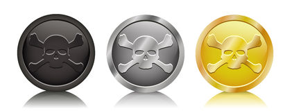 Pirate coins jolly roger Stock Images