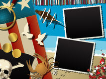 Pirate collage. Pirate theme abstract collage with empty photo frames Stock Photo
