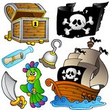 Pirate Collection With Wooden Ship Stock Photos