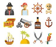 Pirate colorful symbols on white vector flat poster Royalty Free Stock Photography