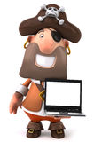 Pirate and computer Stock Photo