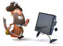Pirate and computer Stock Images