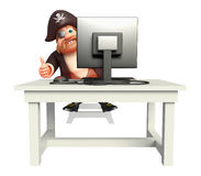 Pirate with Computer Stock Photo