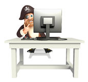 Pirate with Computer Royalty Free Stock Photos