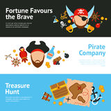 Pirate concept flat banners set Stock Photo