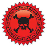Pirate copy label. With scull, vector illustration vector illustration