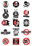 Pirate copy. Set of fifteen different icons Royalty Free Stock Photography