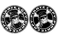 Pirate copy stamp. Vector image print an old seal with pirate skull Stock Photography