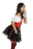 Pirate Costume. Beautiful woman wearing pirate costume royalty free stock photo