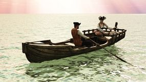 Pirate couple in rowboat Royalty Free Stock Photos