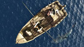 Pirate couple in rowboat from overhead Royalty Free Stock Images