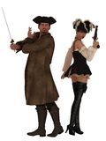 Pirate couple with weapons drawn Stock Images