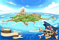 Pirate Cove Island - Treasure Map Royalty Free Stock Photos