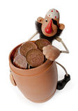 Pirate with a barrel of money Royalty Free Stock Image