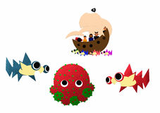 Pirate craft near three monsters Stock Images