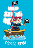Pirate crew boy. Vector illustration of a pirate boy on his ship Stock Photography