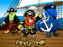 Pirate crew with the Captain on a ship deck.  Royalty Free Stock Photo