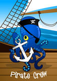 Pirate crew octopus holding an anchor Stock Photo