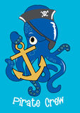 Pirate crew Octopus. Vector illustration of an octopus character holding an anchor Royalty Free Stock Image