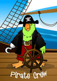 Pirate crew parrot with hook steering the ship Stock Photo