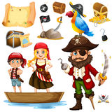 Pirate and crew on ship Stock Photography