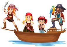Pirate and crew on wooden ship. Illustration Royalty Free Stock Image