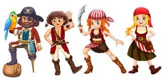 Pirate crews on white background. Illustration Royalty Free Stock Photo