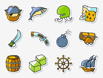 Pirate and criminal icons set in line art minimalistic thin an stock illustration